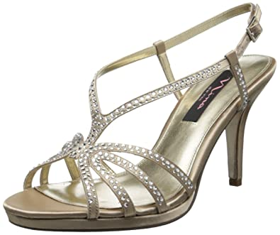 Nina Womens Bobbie Open Toe Special Occasion 75 Slingback Silver Satin Size 75 Occasion I b2841c