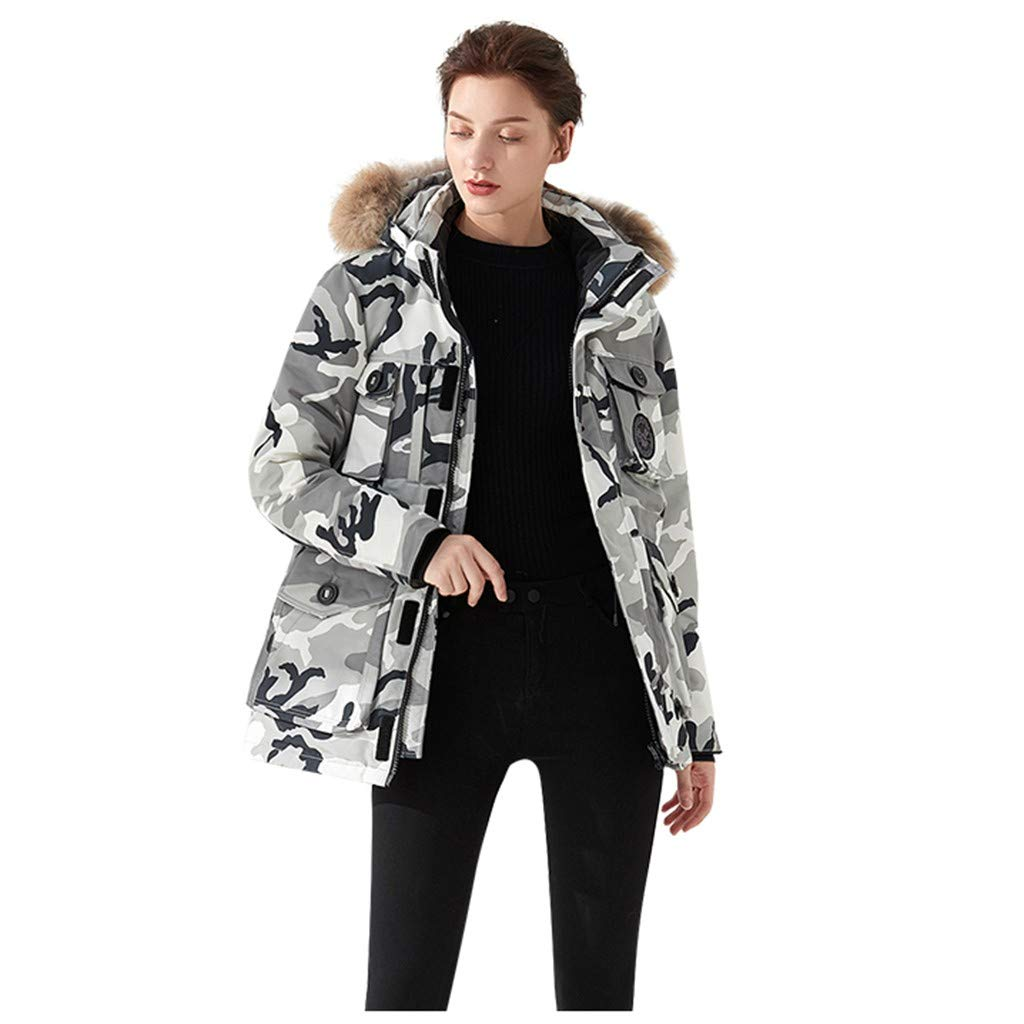 Dermanony Women's Down Coat Winter Warm Large Size Pockets Casual Down Jacket Faux Fur Collar Loose Thick Hooded Coat White by Dermanony _Coat