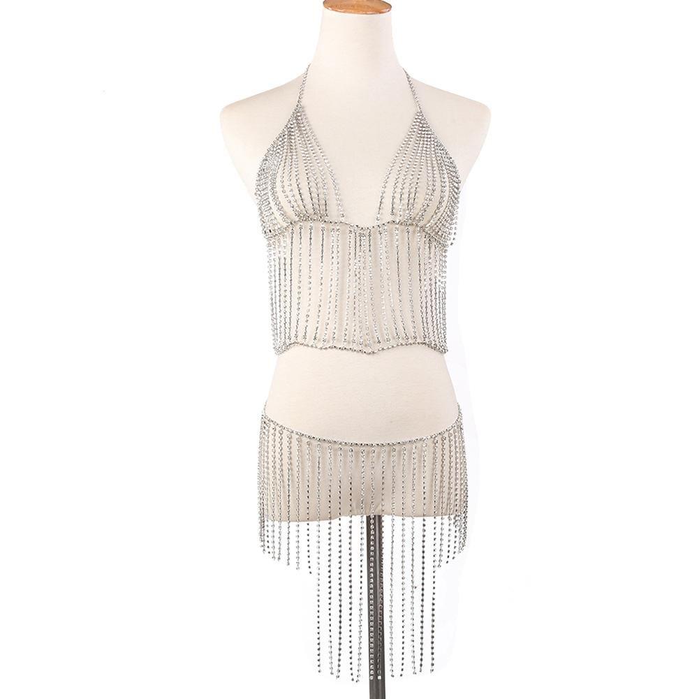 Ownsig Women Bohemian Crystal Tassel Halter Bikini Set Body Chain Fashion Beach Jewelry Sexy Silver