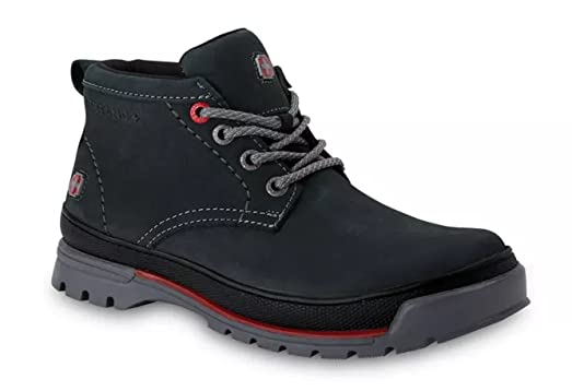 Men's Casual Outdoor Navy-Grey Leather Lace-Up Boot w/Traction Sole