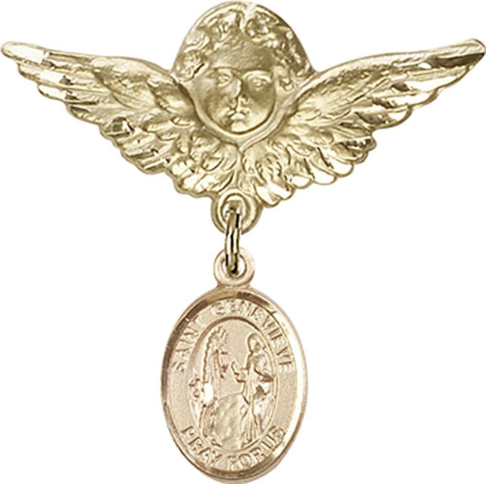 14kt Gold Filled Baby Badge with St Genevieve is the Patron Saint of Womens Army Corps 1 1//8 X 1 1//8 Genevieve Charm and Angel w//Wings Badge Pin St