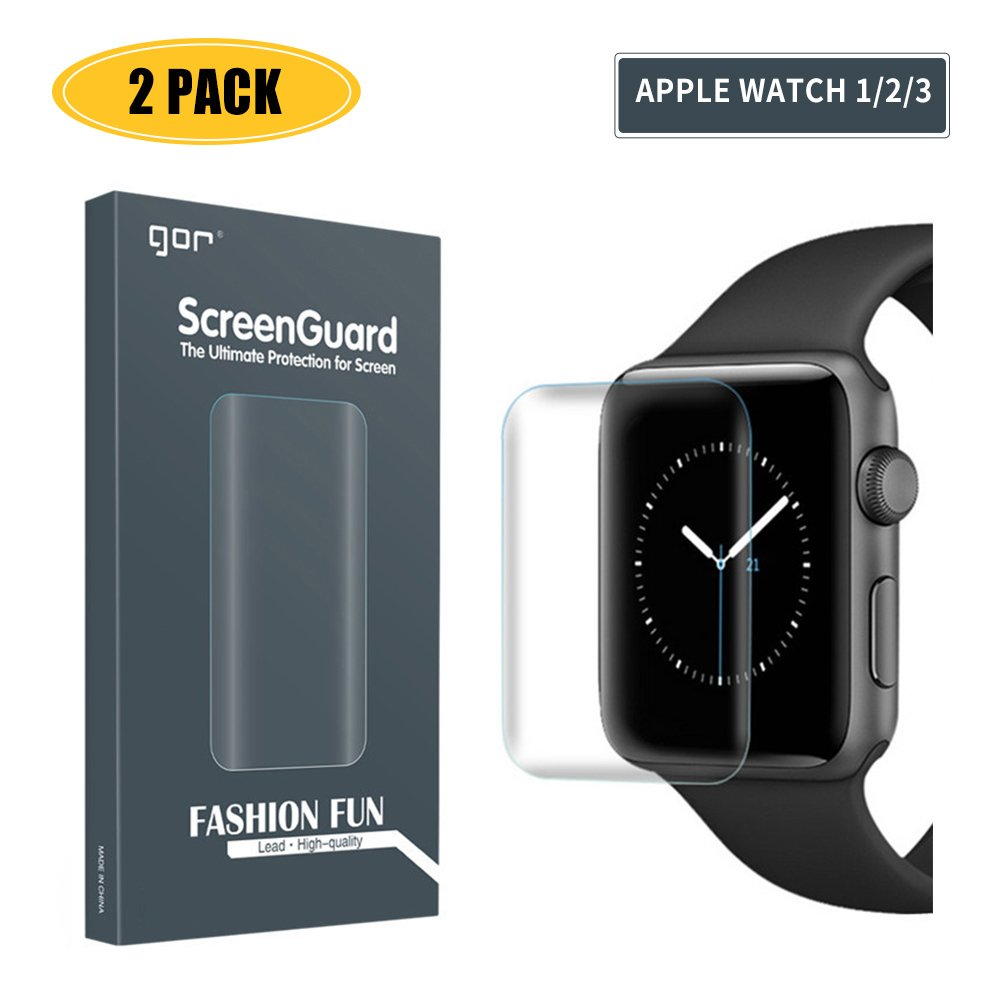 【2-Pack】 Screen Protector Compatible Apple Watch 3/2/1,iWatch Full Coverage PET+TPU Screen Protector Compatible Apple Watch Series 3/2/1 42mm - HD Clear,Ultra-Thin,Anti-Scratch,Anti-Bubble by DSJIF FEKJFWEJF (Image #1)