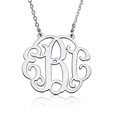 5b3119d437 Monogram Necklace Sterling Silver Personalized Name Necklace