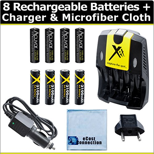 8 Rechargeable AA Batteries with AC/DC Car/Home Charger for AA/AAA Batteries + Microfiber Cloth