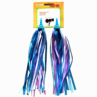 """AISHEMI Bike Handlebar Streamers Bicycle Scooter Trike Colorful Long 11"""" Length Satin Ribbon Streamer - Easy Attachment to Cycle's Handlebars (1 Pair) : Sports & Outdoors"""
