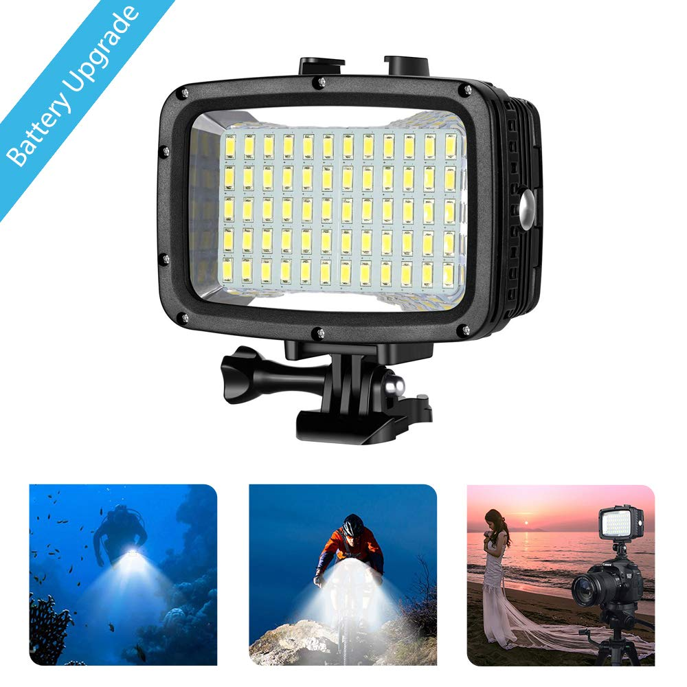 FCNEHLM Underwater Dive Light for Camera - Diving Lights 60 LED High Power Dimmable Waterproof 131ft(40m) for Gopro Hero Canon Nikon Pentax and Other Action and SLR Cameras