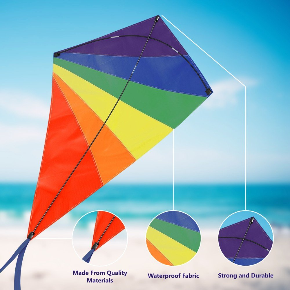Diamond Kite 47 Inch, Easy Flyer Rainbow Kites for Kids and Adults, Best for Beach and Summer Fun, Durable Outdoor Game Kit with Flying Line and Spool, Nylon Kite with Fiberglass Rods for Beginners