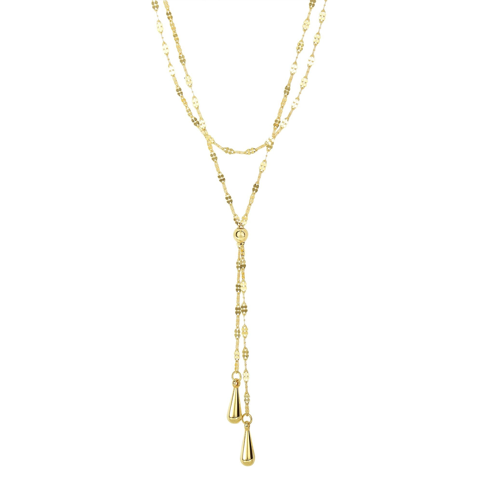 14k 17'' Yellow Gold 1.25mm Shiny2-Row Fancy Flat Mariner as Lariet Style Necklace with Double 1'' Teardrop Strand+Lobster Clasp