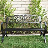 "Bellezza© 50"" Garden Backyard Bench, Metal, Bronze"