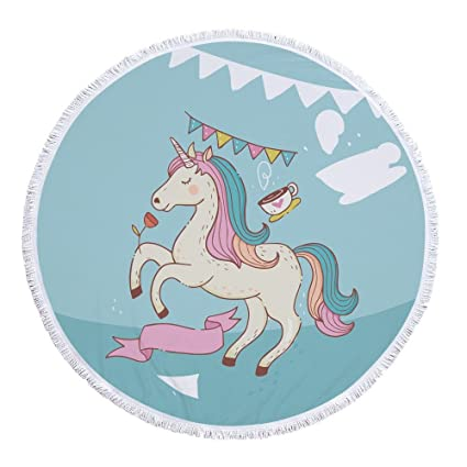 "Toalla de playa, diseño de unicornio 60 ""con flecos de grosor de microfibra"