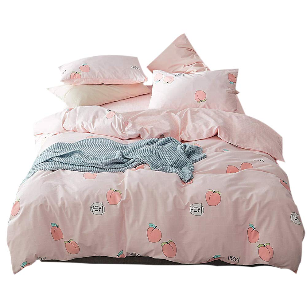 FenDie Fruits Pattern Cotton Girls Duvet Cover Set Pink Reversible Grid Bedding Set Queen Teens Peach Printed Quilt Duvet Cover with 2 Pillowcases Lightweight Without Comforter