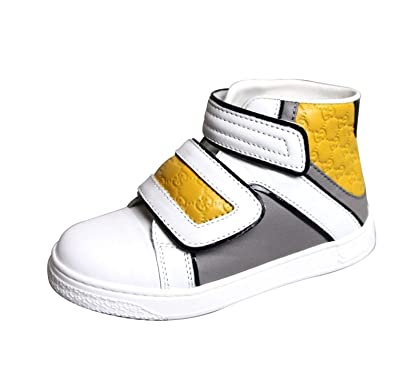 e863bfe06c9 Gucci Kid's Unisex White Gray Yellow Leather High top Sneakers 301353  301354 (23 G /