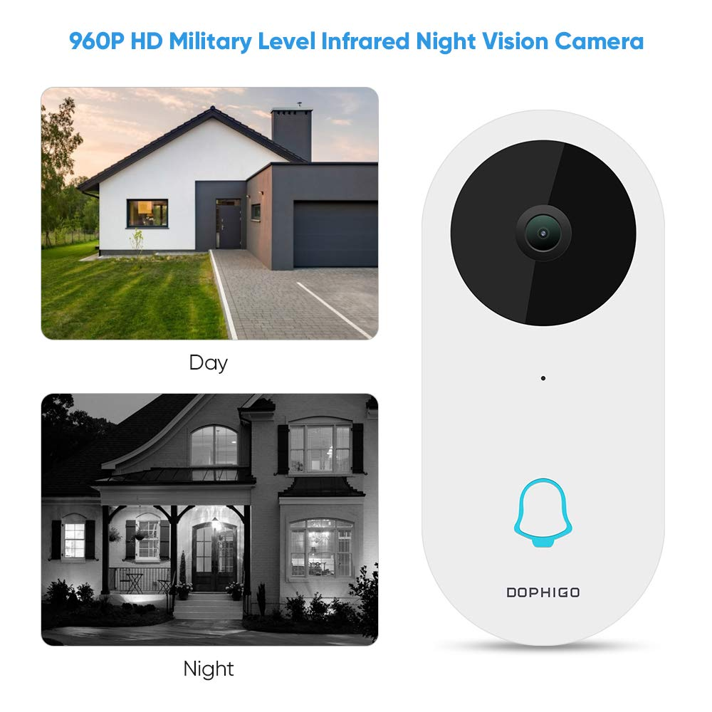 Video Doorbell, 960P HD Video, Real-Time 2-Way Talk, Wi-Fi Enabled Smart Video Camera, Wireless Doorbell, Night Vision, Free Cloud Service, Smart APP Remote Control for iOS and Android