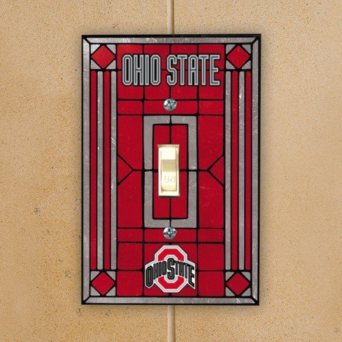 Football Switchplate Cover (NCAA Ohio State Buckeyes Scarlet Art-Glass Switch Plate Cover)