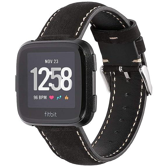 CHIMAERA Correa para Fitbit Versa - Pulsera de Repuesto de Cuero Auténtico Banda Fitbit Versa Hombres Mujeres Fitness Smartwatch Reloj