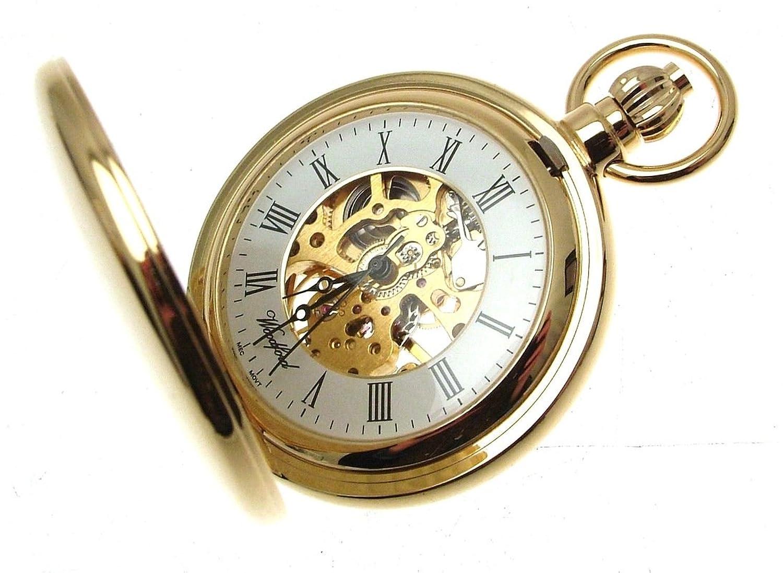 Gold Teller Taschenuhr Mechanische Skelett Bewegung 1099999