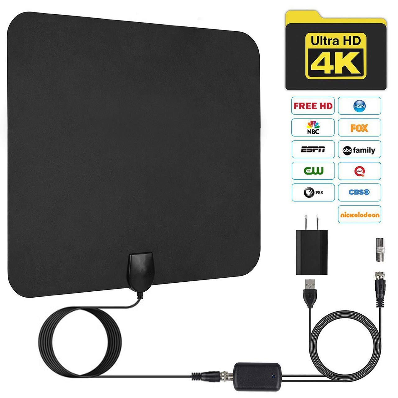JFONG TV Antenna, Indoor Digital Amplified HDTV Antennas 50-80 Miles Range With Detachable Signal Amplifier, UL Adapter and 16.5FT Longer Coax Cable - Support 4K 1080p (Black)