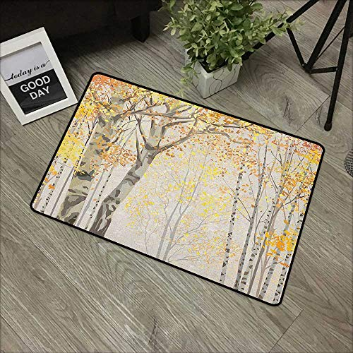 (Bathroom Entry mats Autumn,Birch Growth in The Fall Season Cartoon Style Forest Tranquil Rustic Composition, Multicolor,with Non Slip Backing,35