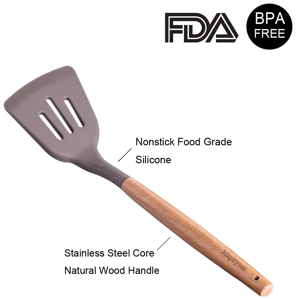 Silicone Cooking Utensils, 6 Pieces Nonstick Kitchen Tool Set BPA Free with Natural Acacia Hard Wood Handle by Maphyton by Maphyton (Image #3)