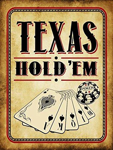 Texas Hold 'Em Vintage Metal Sign, Cards, Poker Chip, Gaming, Game Room,