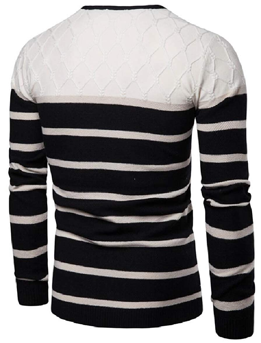 ouxiuli Mens Stretchy Knitted Stripe V-Neck Slim Leisure Pullover Sweaters