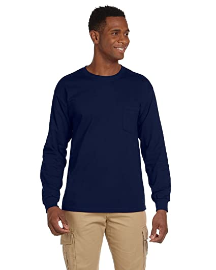 6b1abb4228d Gildan Adult Ultra CottonTM Long-Sleeve T-Shirt with Pocket 2410 - Navy S
