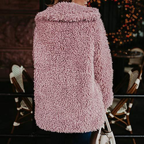 Manteau Laine Moelleux Cardigan Femme Grande Artificielle Long Epais Rose Col Ouvert Hiver Souple Mao Taille Gilet Angelof M Chaud wdRvpHxqw