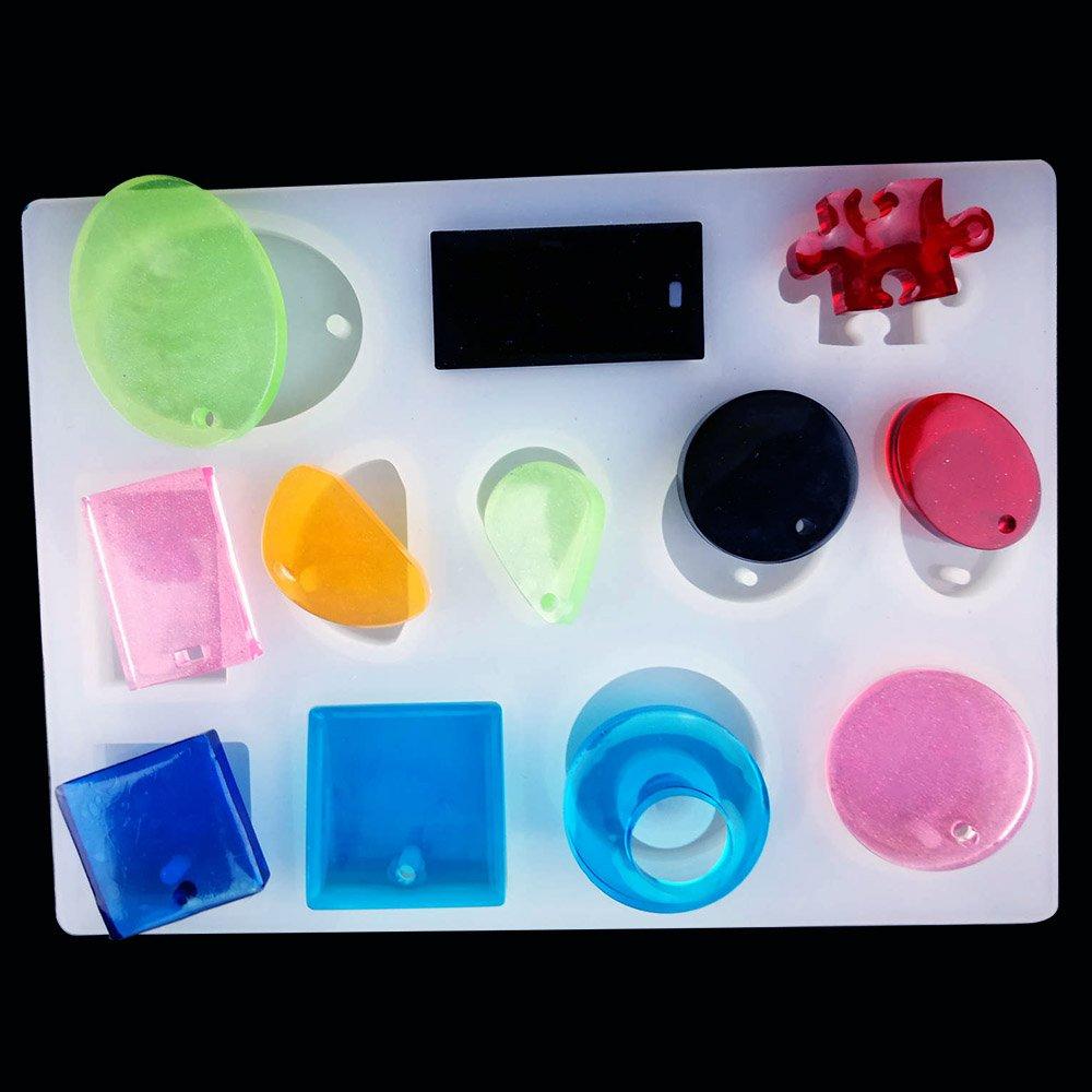 Molde de Resina BUZIFU Set de Moldes de Joyas Silicona con 50 Tornillos, para Hacer Diferentes Tipos de Joyerías Joyas Colgante, Collar Cuadrado Circulo ...