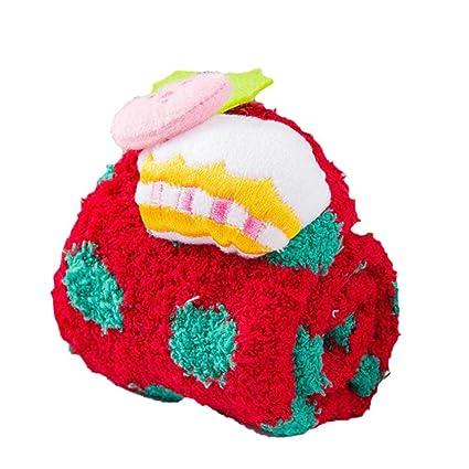 Calcetines de lana de coral para niña Calcetines de Navidad Calcetines lindos de dibujos animados para