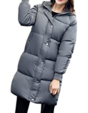 Gaorui Women's Hooded Packable Light Weight Long Jacket Coat Warm Padded Coat for Winter