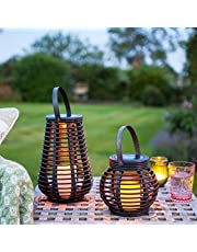 Lights4fun Set of 2 Rattan Solar Powered LED Garden Lanterns