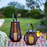 Lights4fun Set of 2 Rattan Solar Powered LED Garden Lante