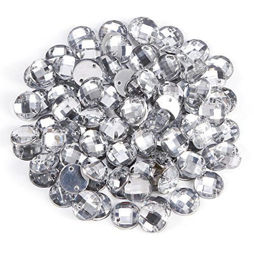 Anladia 100x Charming Sparkle Flat Back 2 Hole Round Sewing Crystal Rhinestone Diamantes Buttons 10MM