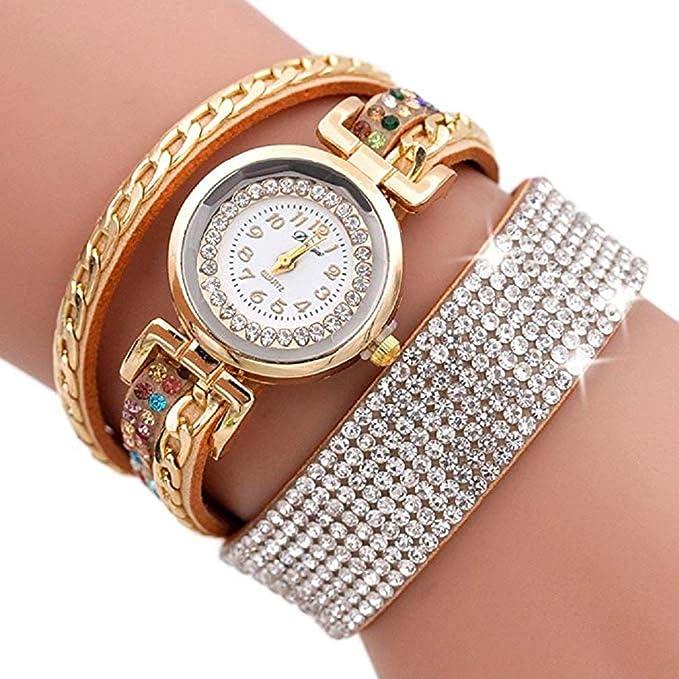 Scpink Women Watches,Fashion Rhinestone Bracelet Watch Quartz Watch Ladies Watches Female Watches Round Dial Leather Wrist Watch (café): Amazon.es: Relojes