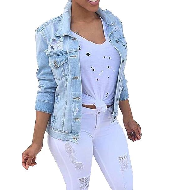 Mujer Chaqueta Vaquera Rotos Talla Grande Löcher Jean Outwear Color Sólido