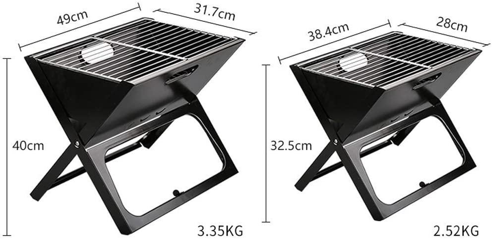 BBQ Grill-Outdoor BBQ Home Charcoal BBQ Stand Portable Barbecue Furnace Field Grill Folding Plus de 5 Personnes @ (Couleur: Bleu,Taille: L) Black