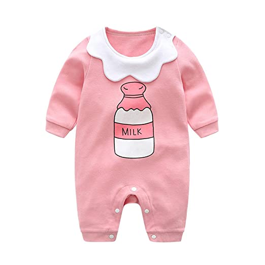 7bccfb7e1cd0 Amazon.com  Baby Girls Romper Jumpsuit for 0-12 months Newborn Milk Bottle  Printed Playsuit One Piece Outfits Clothes Set Onsies  Clothing