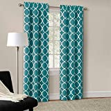 Mainstays Calix Fashion Window Curtain Panel Pair, 84″-Rich Teal For Sale