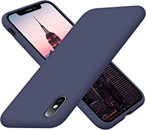 Cordking iPhone Xs Max Phone Case, Silicone Ultra Slim Shockproof Protective Phone Cover with [Soft Anti-Scratch Microfiber Lining], 6.5 inch, Navy Blue