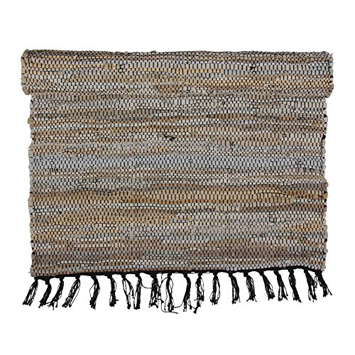 Eightmood Malene Leather Woven Runner Throw Rug, Fringe Trim (Medium - 27.5 x 83, Light - Rug Craft Runner