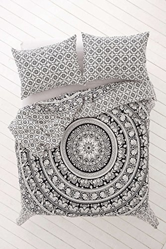 Indian Medallion Duvet Coverlet Tapestry / Hippie Mandala Bohemian Cotton Bedding Comforter Set/ Traditional Print Quilt Blanket Bed Sheet/ Queen Bedspread With Two Pillow Cover (White Black Flower)
