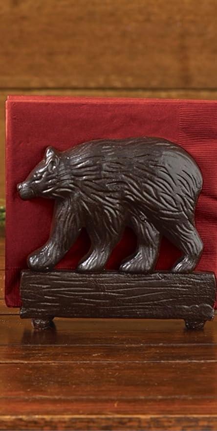 Rivers Edge Napkins Black Bear Home Decor Outdoor Rustic Holder Table Decor