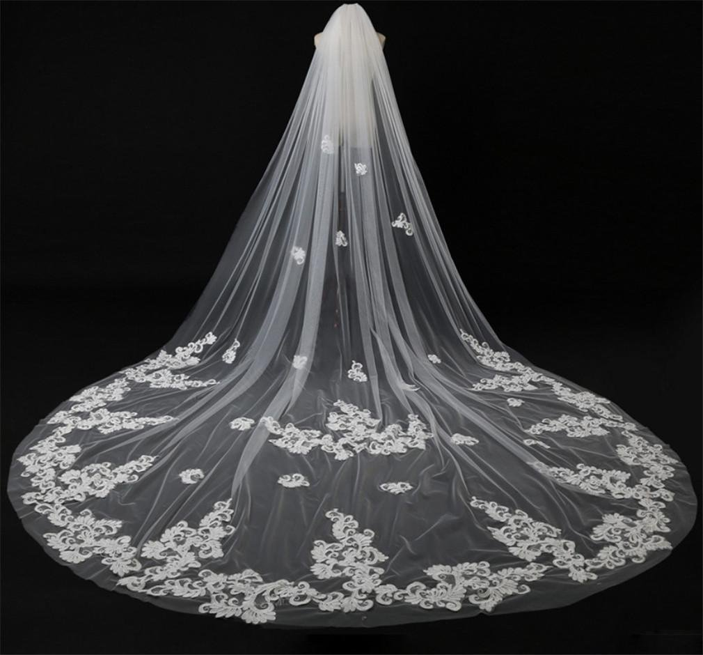 ALL-U Wedding Veil Bridal Hair Veil with Cathedral Length Flowers Wedding Accessories for Women, 4pcs