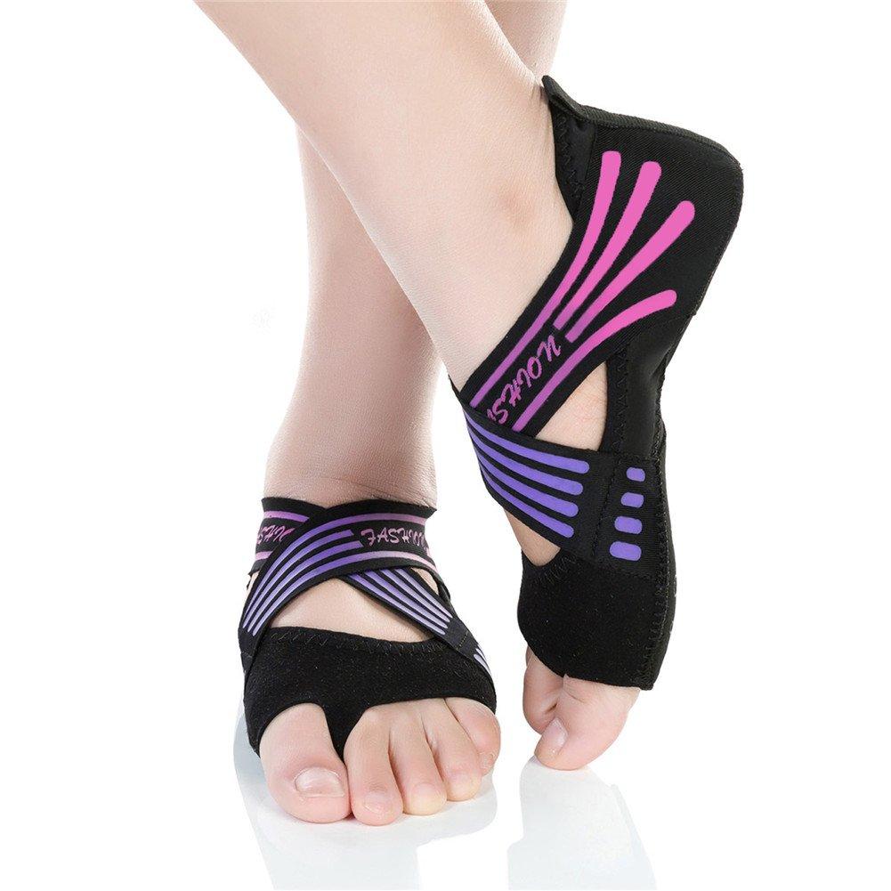 Barerun Womens Kids Bellarina Shoes Half Toe Grip Non-Slip for Ballet Yoga Pilates Barre (6.5-7.5 B(M) US, Black Pink)