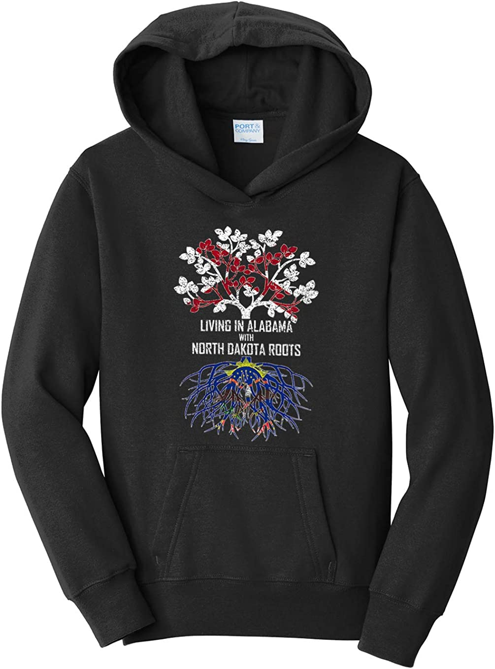 Tenacitee Girls Living in Alabama with North Dakota Roots Hooded Sweatshirt