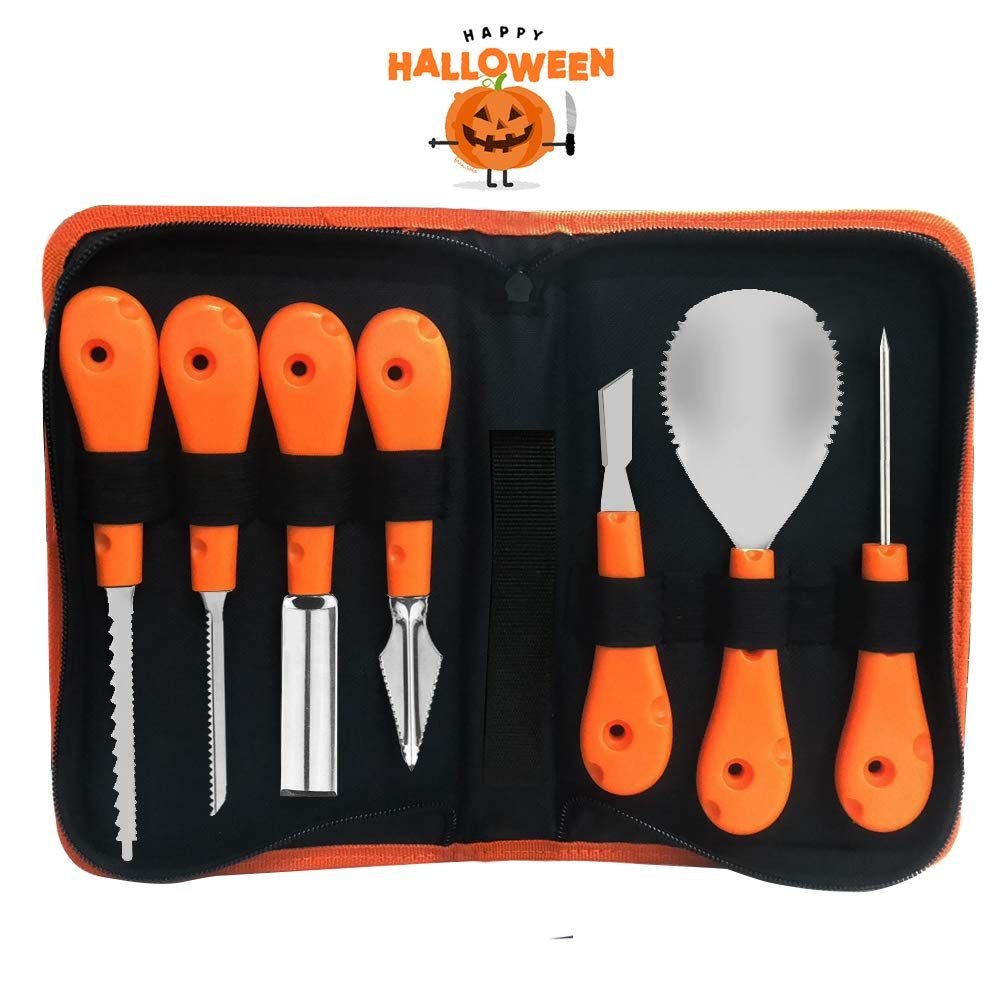 EVNEED Pumpkin Carving Kit,Professional and Heavy Duty Stainless Steel Tools,Pumpkin Carving Set with Carrying Case (7 pcs) by EVNEED