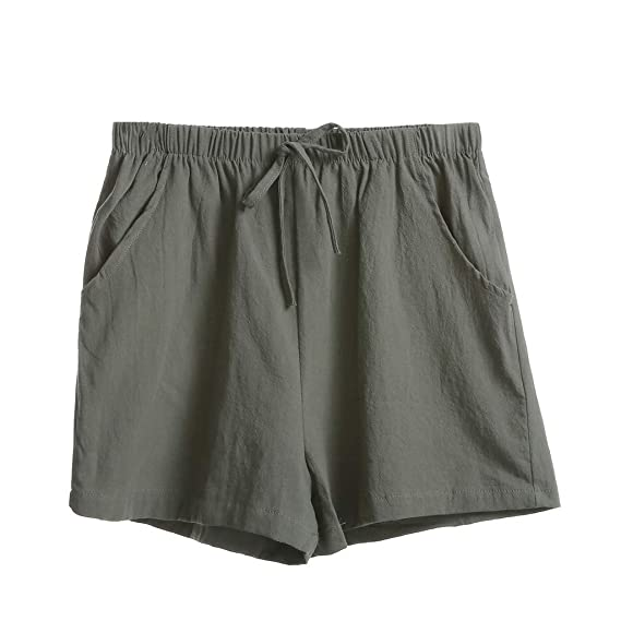 Luckycat Mujer Pantalones de Lino Pantalones Cortos Bermuda ...