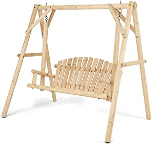 Tangkula Wooden Porch Swing, A-Frame Wood Log Swing Bench Chair, Outdoor Rustic Curved Back Swing Chair for Patio Garden Yard