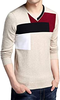 FRAUIT Pullover Herren V-Ausschnitt Langarmshirts Männer Colorblock Slim Herbst Winter Rollkragenpullover Mode Wunderschön Design Business Freizeit Party Reisen Tanzparty 100% Baumwolle M-3XL