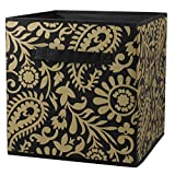 Home Basics Foldable Metallic Storage Bin Cube Organizer (Gold Paisley)